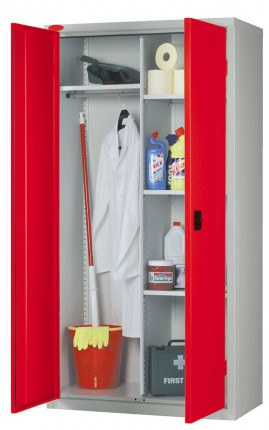 Probe Janitors Steel Storage Cabinet with Hanging Rail and Shelf space - Red