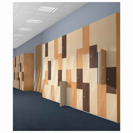 Probe TimberBox MFC Woodgrain Door Steel Lockers in Use