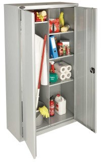 Probe Janitors Steel Storage Cabinet with Hanging Rail and Shelf space - Silver Grey