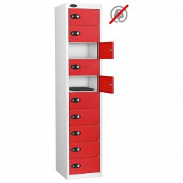 Probe 10 Door Electronic Locking Personal Storage Steel Locker Red Doors