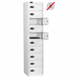 Probe 10 Door Combination Locking Personal Storage Steel Locker White Doors