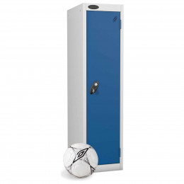 Low height locker with football for size comparison
