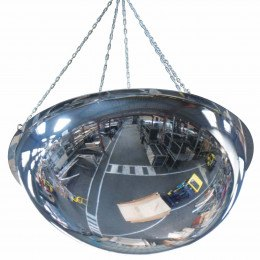 Wide Angle Ceiling Dome Convex Mirror - Vialux 100cm - showing suspension chain fixing