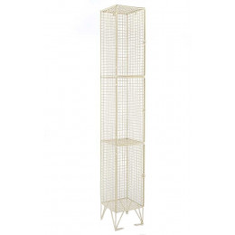 cream Wire Mesh Locker 3 Door 305x450 Single