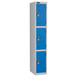 Probe 3 Door Combination Locking High Metal Locker blue