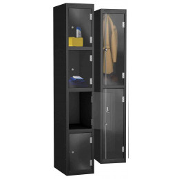 Probe 4 Door Electronic Locking Clear Vision Anti-Theft Lockers - Black Body