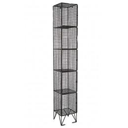 Black Wire Mesh Locker 5 Door 305x305 Single