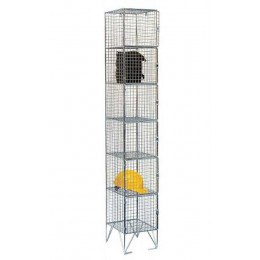 6 Door Locker - Metal Wire Mesh Storage - 305 x 305