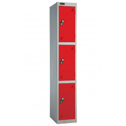 Probe 3 Door Locker 1780mm high red doors and silver body
