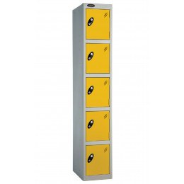 Probe 5 Door Personal Storage Steel Locker Key Locking yellow doors and silver body