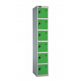 Probe 6 Door Key Locking Personal Storage Steel Lockergreen doors and silver body