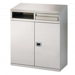 Stainless Steel 2 Door Sloping Top Desk - Bedford 87SDC