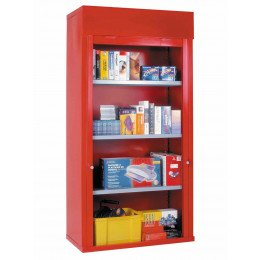 Steel Roller Shutter Door Cabinet 3 Shelves 200x100x50 - Bedford 90215A Red