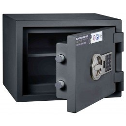 Burton Home Safe Size 1E in Graphite with a Digital Lock, shown slightly open