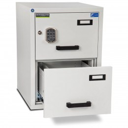 Burton FF200E 2 Electronic Drawer Fire Resistant Filing Cabinet - bottom drawer open