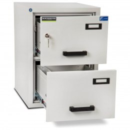 Burton FF200K 2 Key Drawer Fire Resistant Filing Cabinet - both drawers open