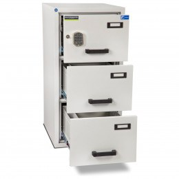 Burton FF300E 3 Drawer Digital Fire Resistant Filing Cabinet - all drawers open