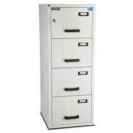 Burton 4 Dr Key Locking Fire Filing Cabinet FF400K MKII 60 mins closed