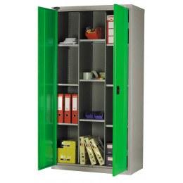 Probe 12COM703618 12 Compartment Steel Storage Cupboard - Green doors