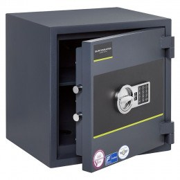 Burton Home Safe Size 3E in Graphite with a Digital Lock, shown slightly open