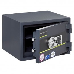 Burton Home Safe Size 2 in Graphite with a Digital Lock, shown slightly open