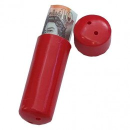 Churchill Deposit Capsule shown in red with notes sticking out.