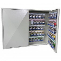 Phoenix KC0503E slightly open inside cabinet is an adjustable hook bars, key tags, key rings, and removable control indexes