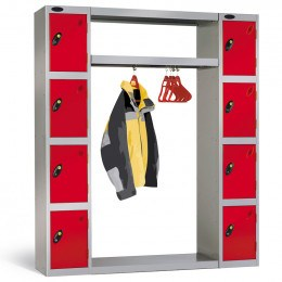 Probe Cloakroom Locker Bridging Connector Type B includes a top and bottom shelf and a hanging rail