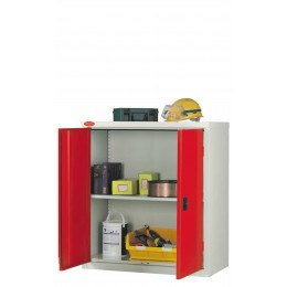 Probe LC403618 Double Door Cabinet 915x460 -  Red doors - Silver Grey body