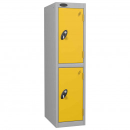 Probe Low Height 2 Door Steel Key Locking Storage Locker Yellow doors and silver body