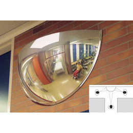 Moravia Panoramic 3 way Vision 100cm 180 degrees 1/2 Dome Convex Wall Mirror in use