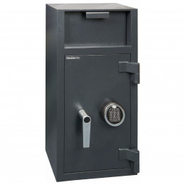 Chubbsafes Omega Deposit Safe with large deposit entry on the front above the door. Door is shown closed with electronic locking