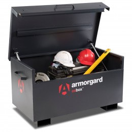 Armorgard Oxbox OX3 with equipment stored and lid open