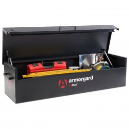 Armorgard Oxbox OX6 Large Van Box 1800mm wide with lid open and in use