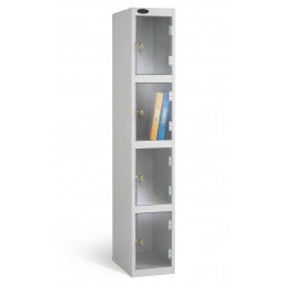 4 Clear Door Steel Locker - Anti Theft Security - Probe