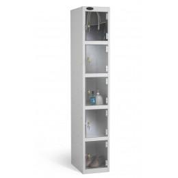 5 Clear Door Steel Locker - Anti Theft Security - Probe