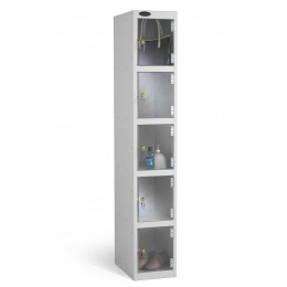 Probe 5 Door Electronic Locking Clear Vision Anti-Theft Locker silver grey