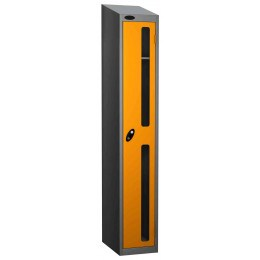 Probe Vision Panel 1 Door Key Locking Anti-Stock Theft Locker sloping top fitted yellow