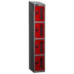 Probe Vision Panel 4 Door Combination Locking Anti-Stock Theft Locker sloping top fitted red
