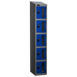 Probe Vision Panel 5 Door Electronic Locking Anti-Stock Theft Locker sloping top fitted blue