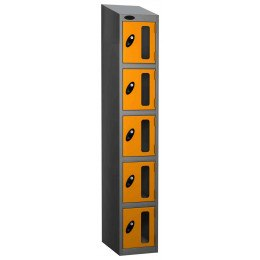 Probe Vision Panel 5 Door Combination Locking Anti-Stock Theft Locker sloping top fitted ye;;ow