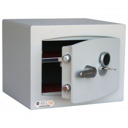 Key Lock Security Safe - Securikey Mini Vault Silver 1K ajar
