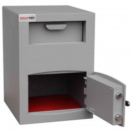 Securikey Mini Vault Silver Deposit Safe 2 Key Lock deposit - safe door open