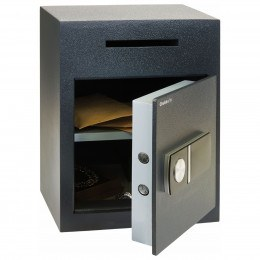 Chubbsafes Sigma Deposit Safe with Letter Slot on the front above the door. Door is shown open with electronic locking.