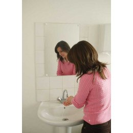 Flat Frameless Safety Vanity Mirror 40x60cm - Vialux 4600PLS in use