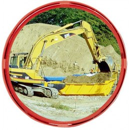 Civil Works Convex Safety Mirror with Red Frame 40cm - Vialux R514