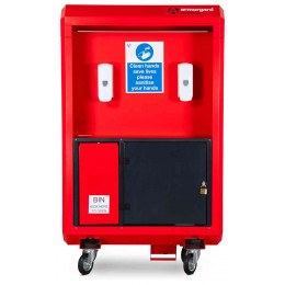 Armorgard Sanistation Pro SP160 Showing dispernser, storage and swing bin