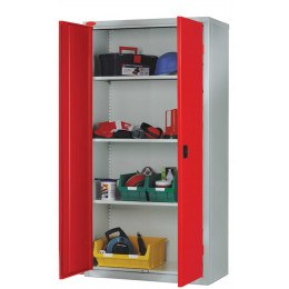 Probe High Double Door Steel Storage Cabinet 915x460 - red doors