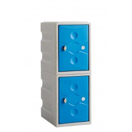 Water Resistant Plastic Locker Low 2 Door - Probe UltraBox - blue doors