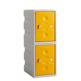 Waterproof Plastic Locker Low 2 Door - Probe UltraBox Plus - yellow doors